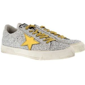 Golden Goose May, silver matte glitter gold star